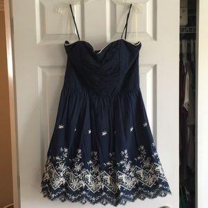 Navy cotton woven sundress with spaghetti straps